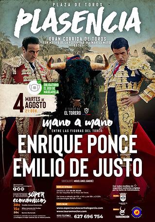 Cartel Toros Plasencia 2020 - Enrique Ponce y Emilio de Justo