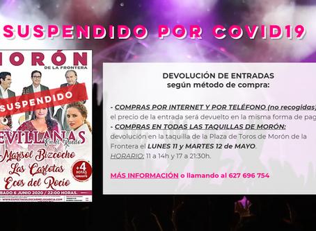 """Suspensión concierto """"Sevillanas en el Ruedo"""" en Morón de la Frontera"""