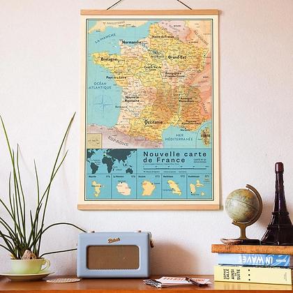 Affiche Carte de France vintage Pappus Editions