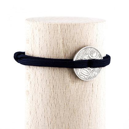 Bracelet lacet marine avec Sou