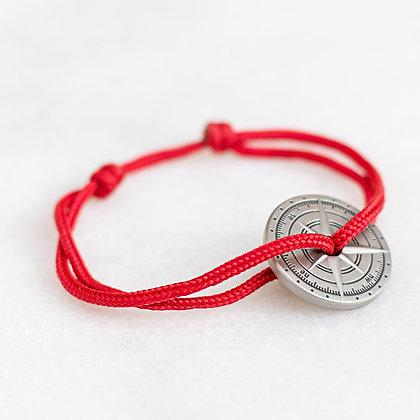 Bracelet cordon rouge boussole  bronze vieilli LVLFF