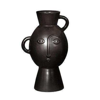 Vase visage abstrait noir