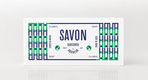 Pack de 3 savons 100g quotidien Le Baigneur