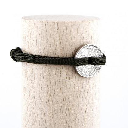 Bracelet lacet kaki avec Sou