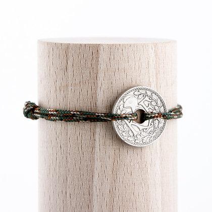 Bracelet cordon kaki avec Sou