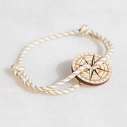 Bracelet cordon beige boussole bois LVLFF