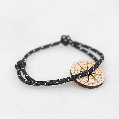 Bracelet cordon noir boussole bois LVLFF