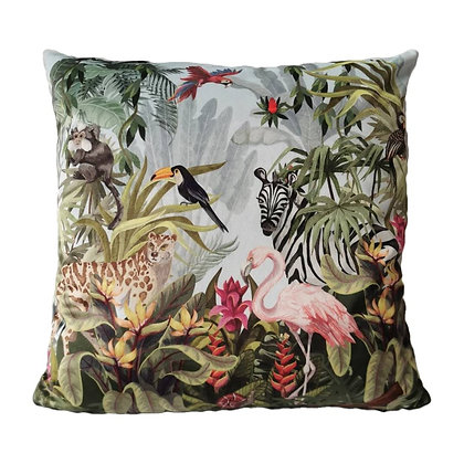 Coussin velours jungle calao