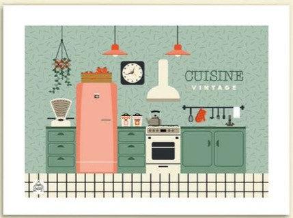 Les petits Yéyés affiche La cuisine vintage