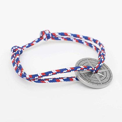 Bracelet cordon tricolore boussole  bronze vieilli LVLFF
