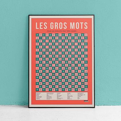 """Affiche """"les gros mots"""" La Majorette à Moustache"""