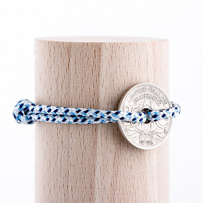 Bracelet cordon bleu avec Sou