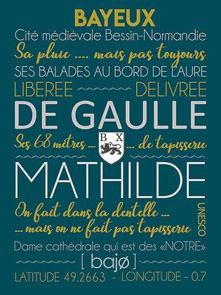 """Affiche """"J'écris Bayeux"""" fond bleu"""