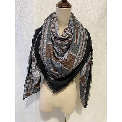 Echarpe carrée tendance tons gris et noir