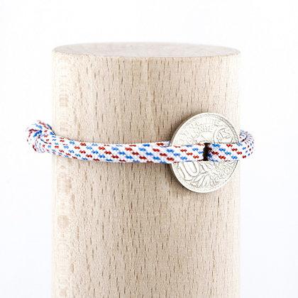 Bracelet cordon bleu blanc rouge avec Sou