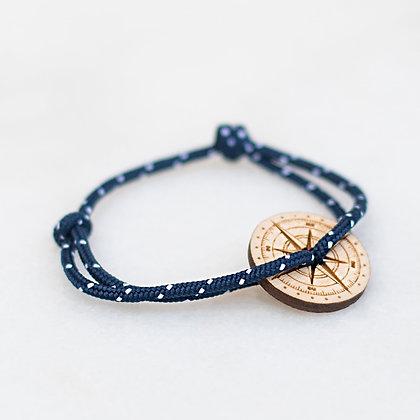 Bracelet cordon marine boussole bois LVLFF
