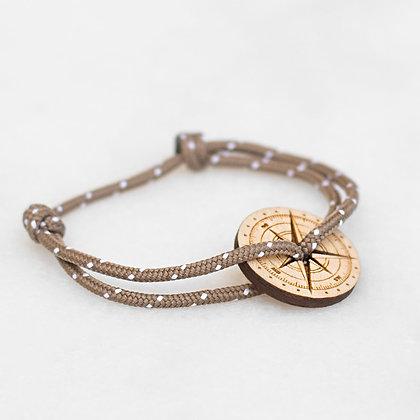 Bracelet cordon taupe boussole bois LVLFF