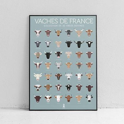 """Affiche """"Vaches de France"""" La Majorette à moustache"""