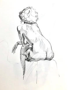 Ines (seated back study)