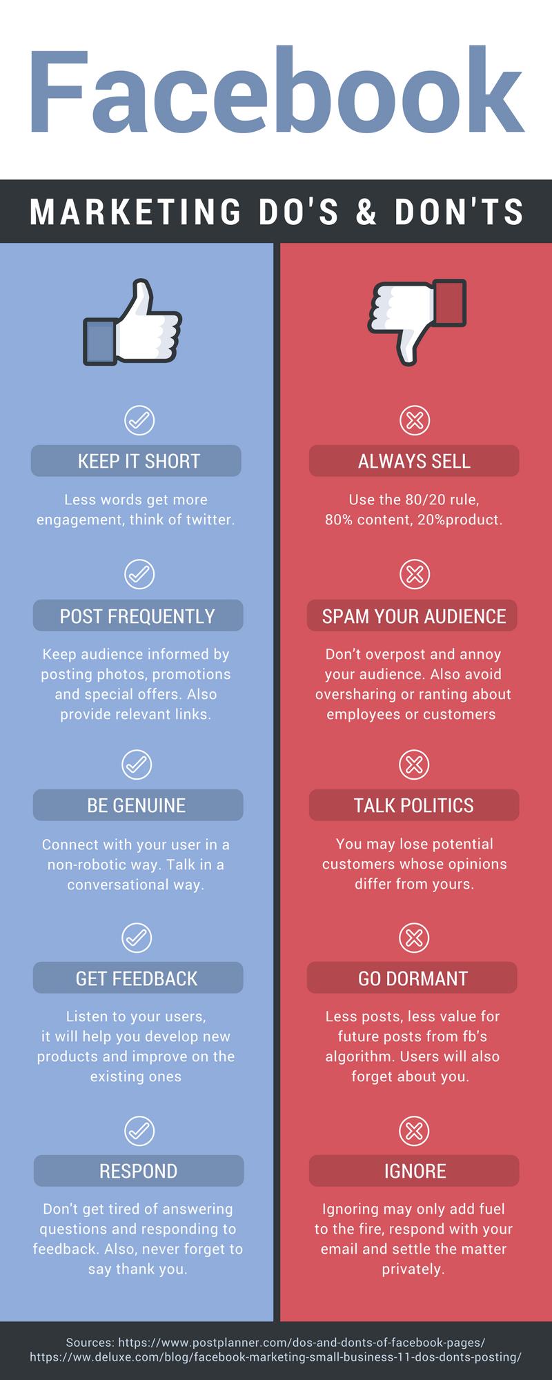 Facebook Do's & Don'ts Infographic