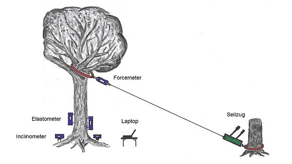 Zugversuch Forcemeter Dynamometer Elastometer Inclinometer Seilzug Zugseil Habegger