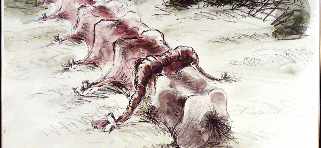 """Skin Tent for a Backbone 1978 watercolor, crayon, graphite on 100% rag paper, 30""""x 40"""""""