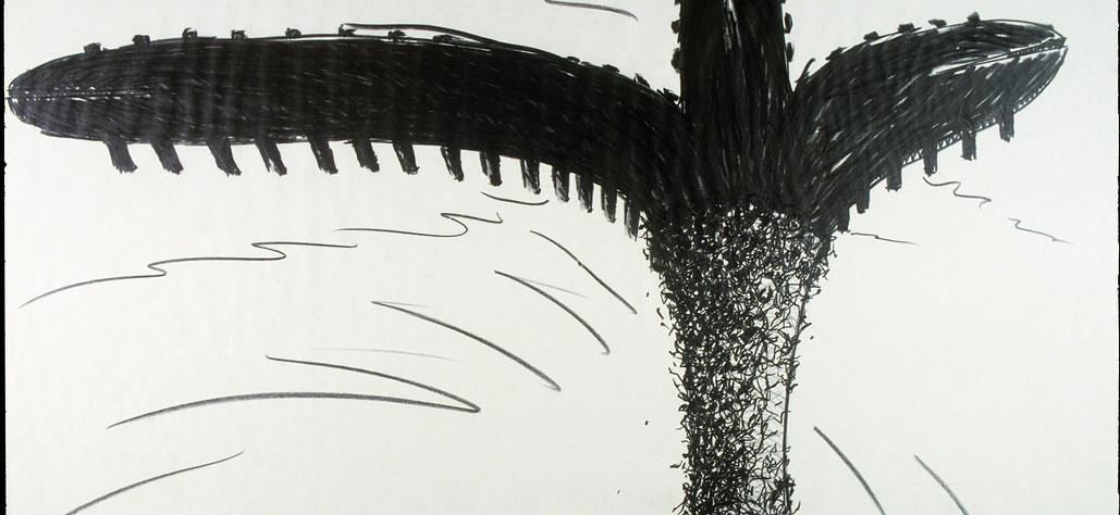 "Triple Split Tongue Pier with Vine Covered Entrance 1982 graphite on vellum, 30"" x 41.5"""