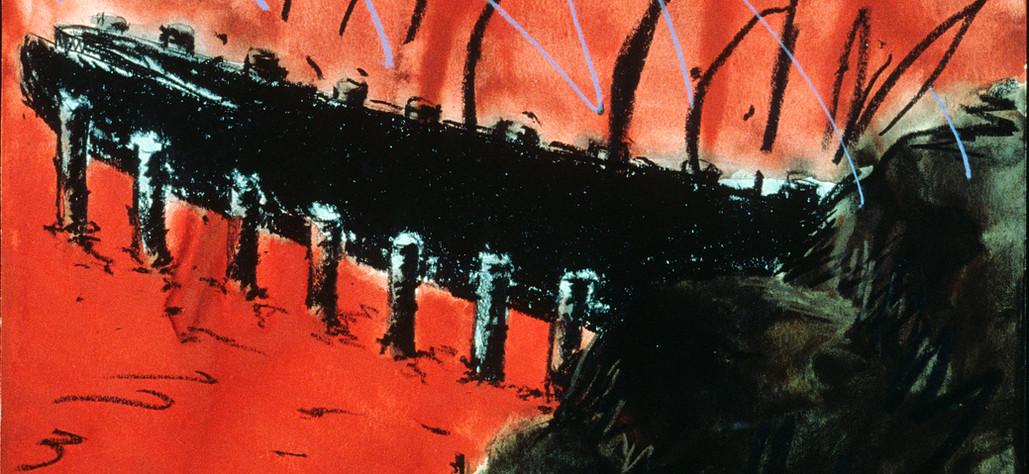 "Split Tongue Pier 1980 watercolor, graphite, crayon on 100% rag, 11 x 14.75"""