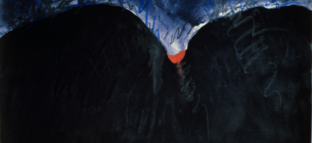 "Red Earth Clot in A Mountain Crevasse 1979 watercolor, gouache, oil crayon on 100% rag paper, 10 7/8"" x 14 ¾"""