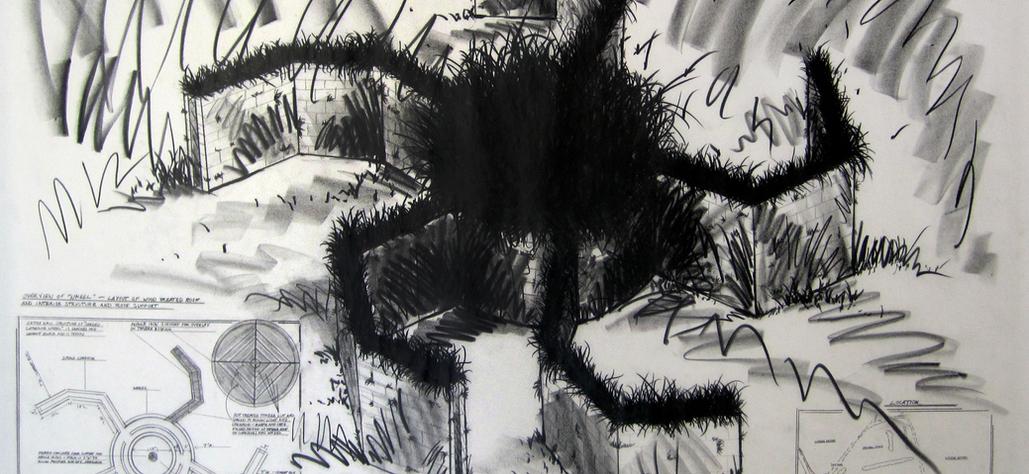 "Five Spoke Seeded Catherine Wheel, 1984 graphite on vellum, 30""x42"""