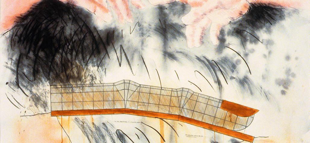 "Fingerspan Pedestrian Bridge (pink hands) 1987   watercolor, crayon, graphite on paper, 72"" x 60"""