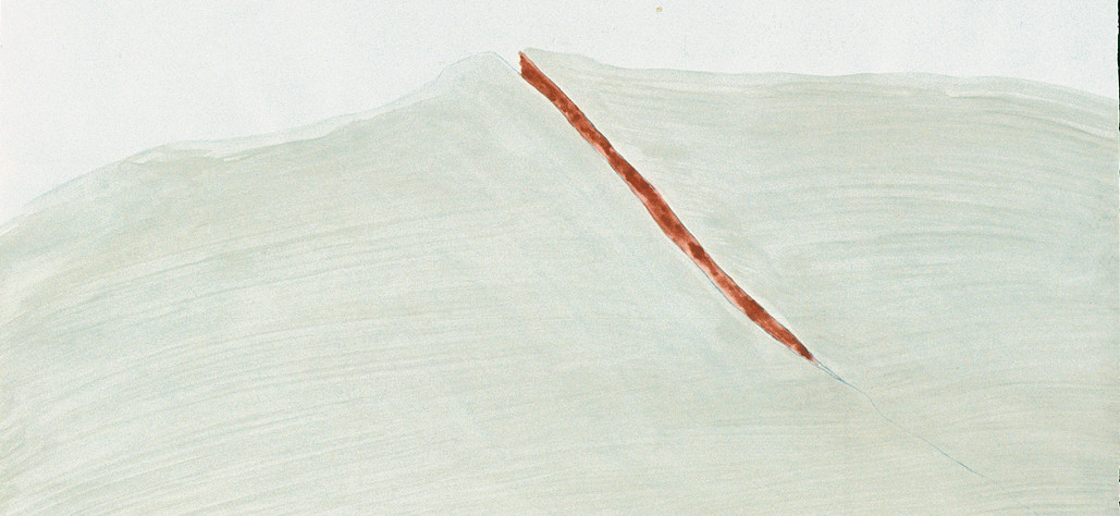 """Cliff Wound 1976 graphite, watercolor on paper, 24"""" x 36"""""""