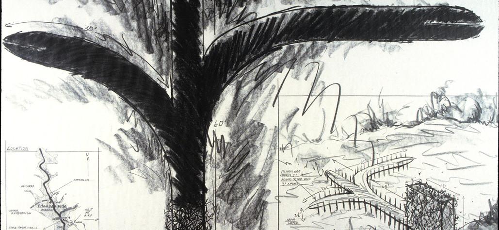 "Triple Split Tongue for Livzey Dam 1982 graphite on vellum, 30"" x 40"""