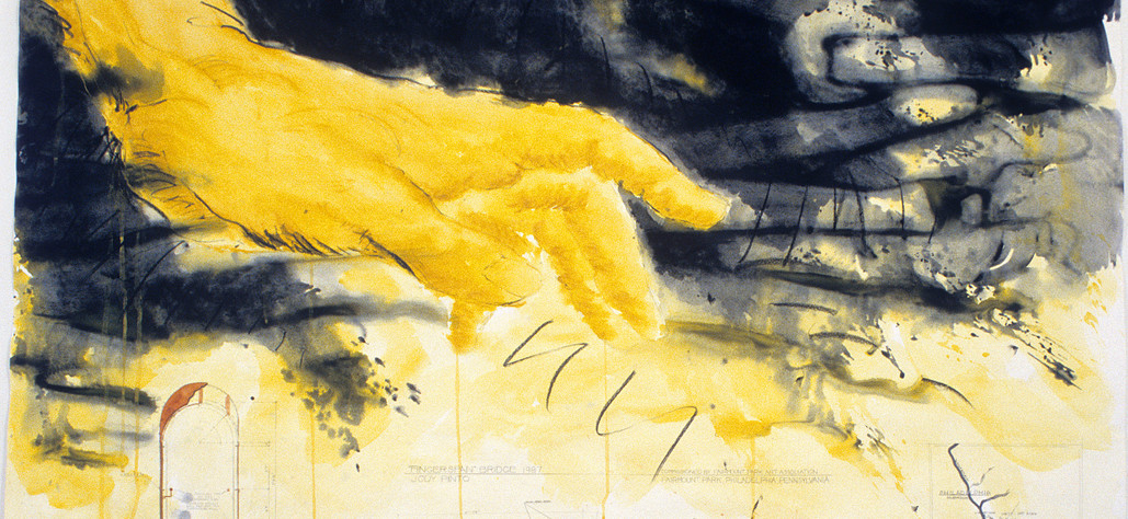 "Fingerspan (Yellow Hand) 1987 gouache, pastel, graphite on rag paper, 60"" x 72"""