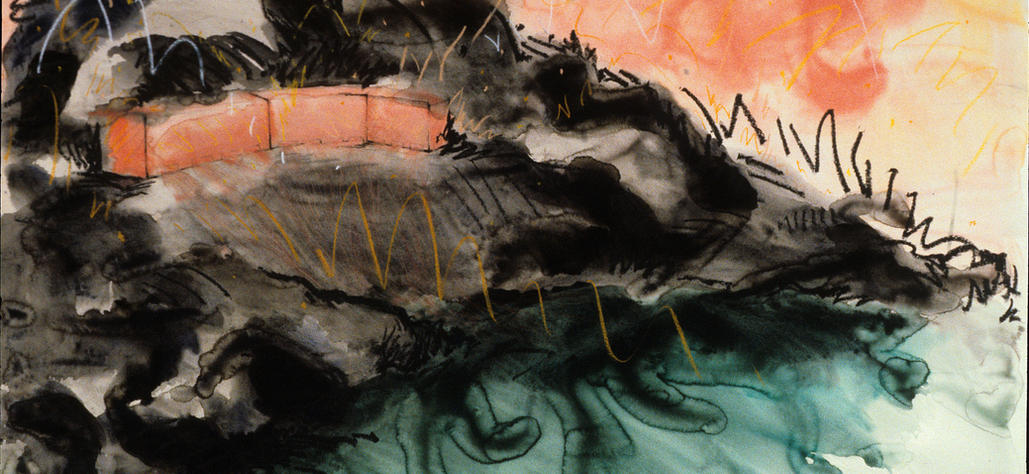 """Monument for a Bent Finger, 1981 watercolor, graphite, crayon on paper, 40""""x60"""""""