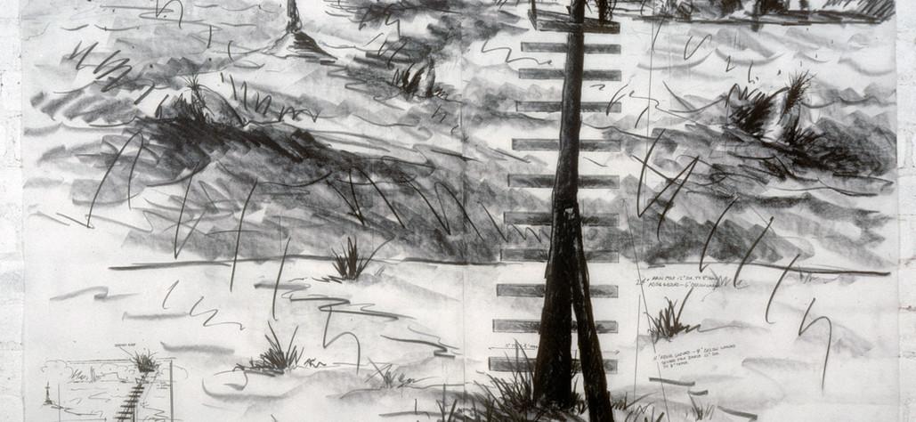"Widow's Perch 1982 graphite on vellum, 36"" x 48"""