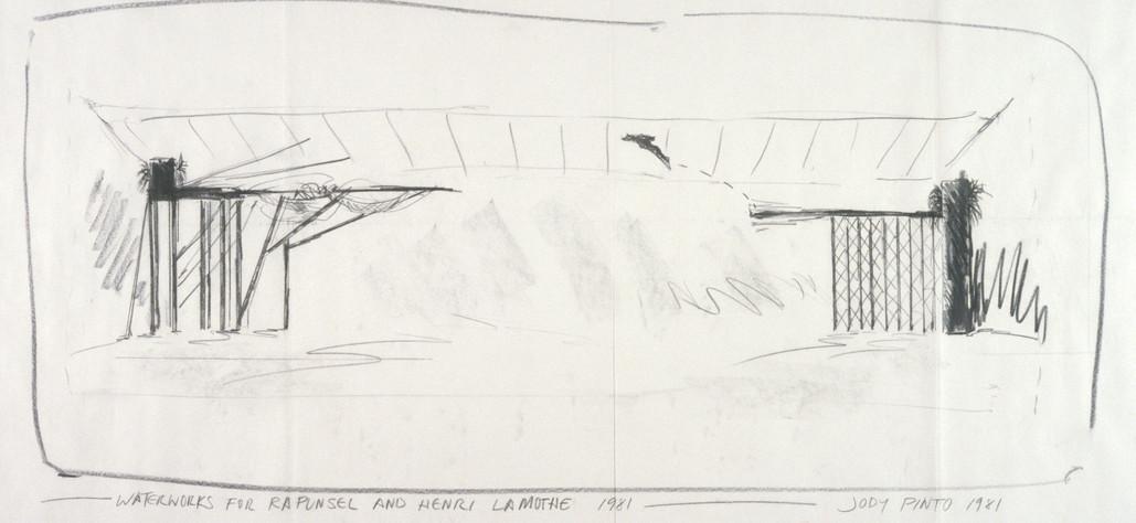 "Waterworks for Rapunzel and Henri (floor plan), 1981 graphite on vellum, 24""x36"""