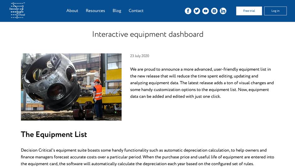 Interactive Equipment Dashboard