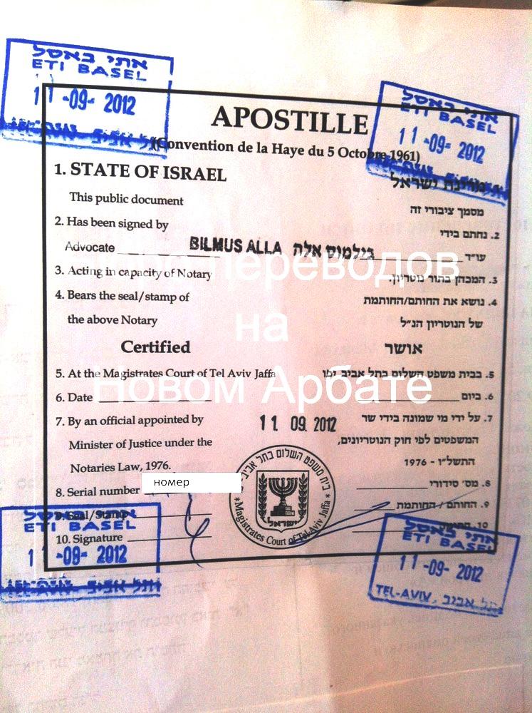 Апостиль государства Израиль