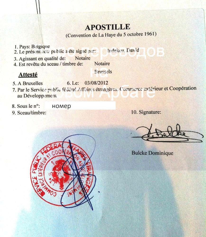 Апостиль Бельгия