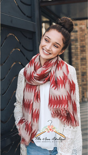 Red Aztec Scarf