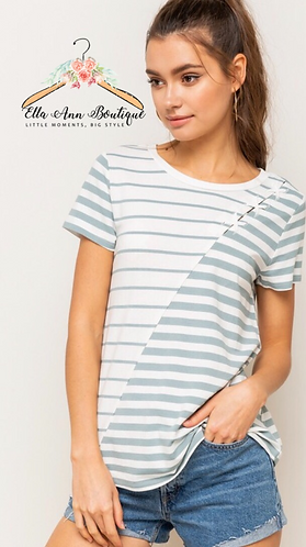 The Kendra Lace Up Stripe Top