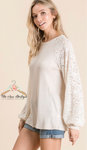The Morgan Lace Sleeve Top
