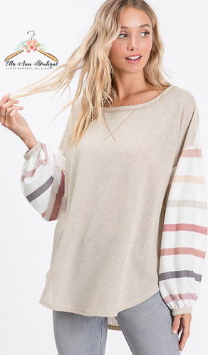 The Reagan Multi Striped Sleeve Top