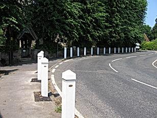 New white posts around church