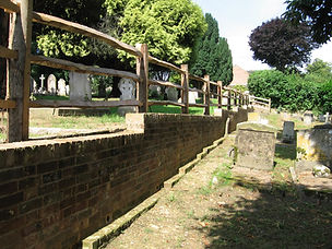 The new wall in School Hill cemetary