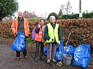 Volunteers helping at our Village clean-up day