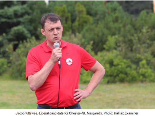 Liberal candidate Jacob Killawee tried to sell himself as a critic of the aquaculture industry