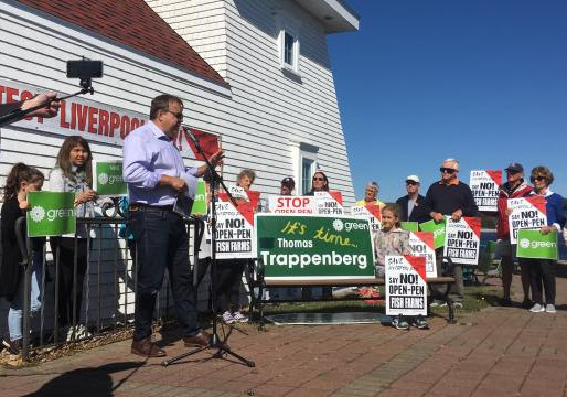 NS Green Party leader speaks to Protect Liverpool Bay supporters at local rally