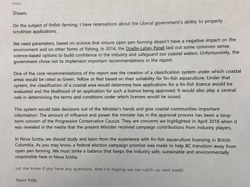"""A Letter:  """"On the Subject of fin-fish farming"""" - Tim Houston, MLA and Leader of the PC Party of NS"""